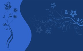 Picture flowers, pattern, vector, texture, blue background