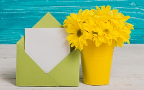 Picture flowers, flowers, vase, yellow, bouquet, the envelope, yellow