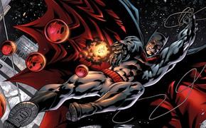 Picture explosion, gun, fantasy, Batman, weapon, stars, comics, artwork, mask, superhero, fantasy art, DC Comics, Bruce ...