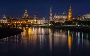 Picture night, bridge, lights, river, building, home, Germany, Dresden, promenade, palaces