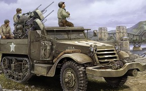 Picture USA, SAU, M16, APU, antiaircraft self-propelled installation, Multiple Gun Motor Carriage, Self-propelled multi-barrel machine gun