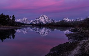 Wallpaper morning, Wyoming, reflection, mountains, Rocky mountains, Rocky Mountains, Grand Teton National Park, National Park Grand ...