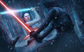 Picture Star Wars, art, Lightsaber, rey, kylo ren, Star Wars: Destiny