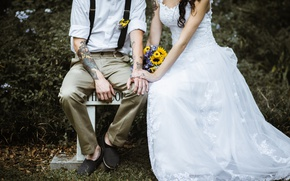 Picture bouquet, dress, tattoo, costume, the bride, tattoo, the groom