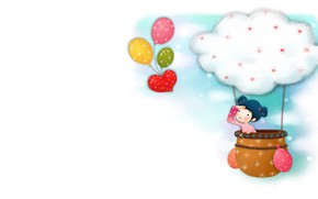 Picture balls, balloon, art, girl, journey, children's