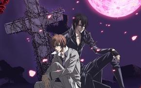 Picture night, roses, cross, guys, two, art, blood moon, hotaru odagiri, ura of the bok no …