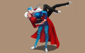 Picture dance, guys, Lancer, Archer, Fate / Stay Night