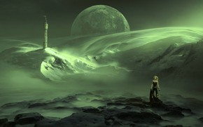 Wallpaper the sky, girl, space, snow, mountains, space, green, fog, stones, fiction, the moon, planet, tower, ...