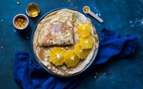 Picture orange, food, honey, pancakes, cakes, peel