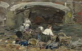Picture women, picture, genre, Eugene Boudin, Eugene Boudin, Laundresses near the Bridge