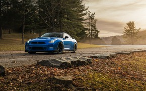 Picture Nissan, GT-R, Blue, Road