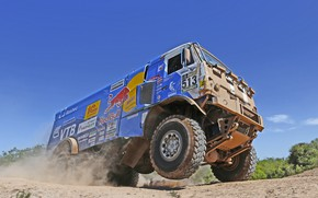 Picture The sky, Grass, Dust, Wheel, Sport, Speed, Race, Master, Dirt, Squirt, Russia, Heat, Kamaz, Rally, …