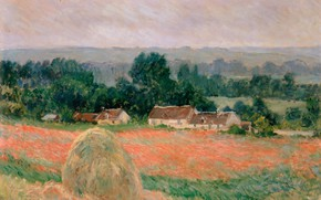 Wallpaper Claude Monet, picture, Oscar-Claude Monet, Haystack at Giverny, field, home, landscape