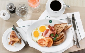 Picture coffee, Breakfast, scrambled eggs, tomato, bacon, toast, croissant, sausages