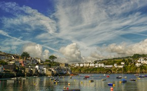 Picture England, home, boats, harbour, Cornwall, Fowey