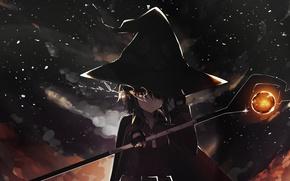Picture the sky, night, magic, girl, staff, spell, cloak, witch hat, Megumi, Kono Subarashii sek'ai is …