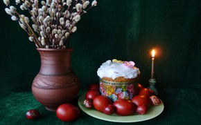 Picture fire, candle, eggs, plate, Easter, vase, cake, Verba, twigs
