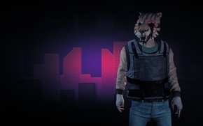 Picture game, tiger, mask, bulletproof vest, Payday 2, Payday, tora
