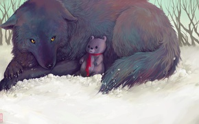 Picture winter, snow, nature, wolf, Teddy bear, by Glad-Sad