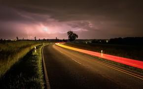 Wallpaper road, night, zipper, lights