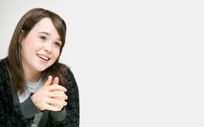 Picture smile, actress, jacket, Ellen Page, brown-eyed, Ellen Page