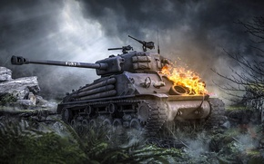 Picture world of tanks, Sherman, Sherman, the main American medium tank, fury, M4A3E8