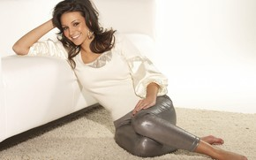 Picture girl, smile, jacket, Michelle Keegan