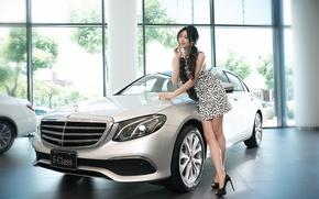 Picture summer, face, model, dress, legs, Asian, car