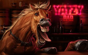 Picture artwork, the horse in the bar, Screaming Horse, Sviatoslav Gerasimchuk