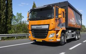 Picture trees, orange, track, the fence, body, DAF, DAF, dump truck, 6x2, platform, Euro6, DAF CF ...