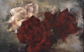 Picture pink, red, three, Grigory Gluck Man, Still life with roses