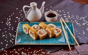 Picture figure, sesame, rolls, soy sauce