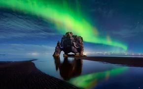 Picture beach, the sky, stars, night, shore, Northern lights, Iceland, Hvitserkur, Huna Bay, basaltic rock