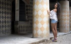 Picture summer, face, model, hair, brunette, legs, Joanna