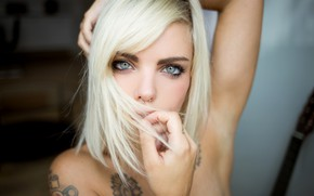 Picture girl, Model, photo, blue eyes, tattoo, lips, face, blonde, piercing, portrait, mouth, gray eyes, makeup, ...