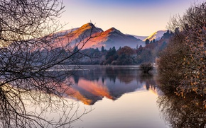 Picture mountains, branches, nature, lake, mountain