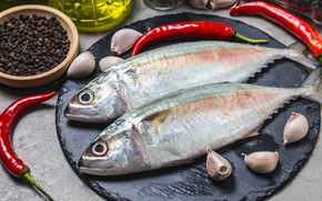 Picture fish, spices, garlic, mackerel