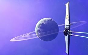 Wallpaper future, space, fantasy, science fiction, stars, planet, digital art, artwork, fantasy art, rings, Spaceship, futuristic, ...