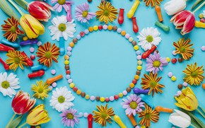 Picture flowers, chamomile, spring, colorful, Easter, tulips, sweets, chrysanthemum, flowers, tulips, spring, Easter, eggs, candy, decoration, …