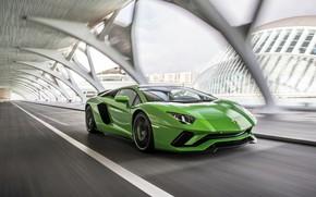 Picture green, speed, Lamborghini, 2017, Aventador S
