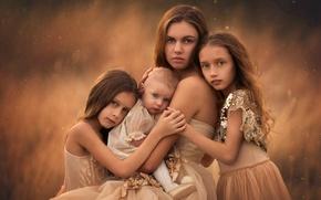 Picture love, children, mom, sisters