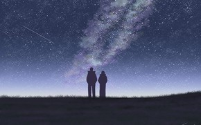 Wallpaper the sky, girl, night, guy, the milky way, by Tosaka