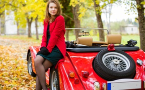 Picture machine, autumn, girl, trees, nature, dress, gloves, brown hair, convertible, jacket, car