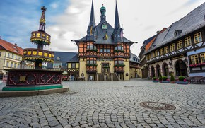 Wallpaper area, home, Wernigerode, fountain, Germany