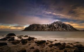 Picture winter, sea, the sky, mountains, stones, rocks, coast, the evening, horizon, Norway, Bay, The Lofoten …