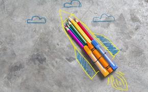 Wallpaper Pen, Rocket, Minimalism, Figure, Background