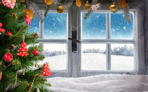 Picture winter, snow, decoration, New Year, window, Christmas, gifts, Christmas, winter, snow, window, Merry Christmas, Xmas, …