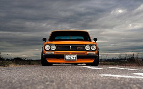 Picture Auto, Machine, Clouds, Orange, Nissan, Nissan, Lights, Car, 2000, Skyline, Nissan Skyline, 1972, The front, …