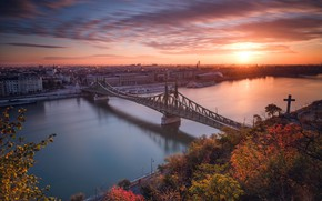 Wallpaper Budapest, sunset, Hungary