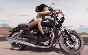Picture girl, pose, art, motorcycle, legs